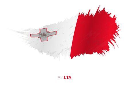 Flag of Malta in grunge style with waving effect, vector grunge brush stroke flag.