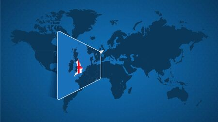 Detailed world map with pinned enlarged map of England and neighboring countries. England flag and map. Illustration