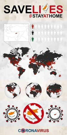 Infographic about Coronavirus in Cyprus – Stay at Home, Save Lives. Cyprus Flag and Map, World Map with COVID-19 cases.