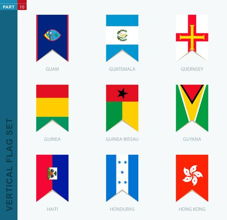 Nine vector vertical flag set. Vertical icon with flag of Guam, Guatemala, Guernsey, Guinea, Guinea-Bissau, Guyana, Haiti, Honduras, Hong Kong