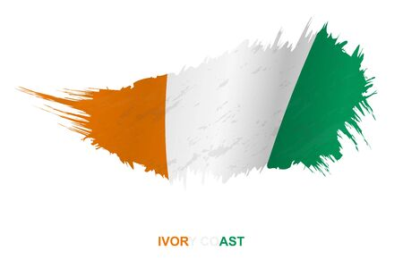Flag of Ivory Coast in grunge style with waving effect, vector grunge brush stroke flag. Vectores