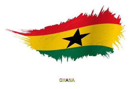 Flag of Ghana in grunge style with waving effect, vector grunge brush stroke flag.