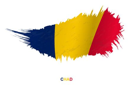 Flag of Chad in grunge style with waving effect, vector grunge brush stroke flag.