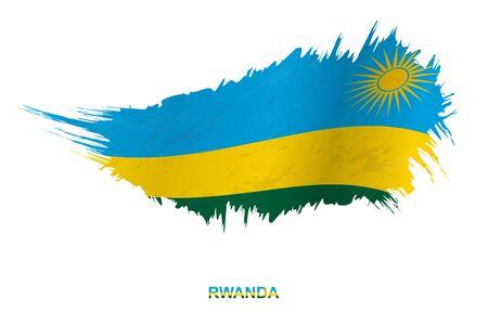 Flag of Rwanda in grunge style with waving effect, vector grunge brush stroke flag.