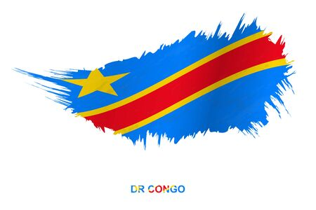Flag of DR Congo in grunge style with waving effect, vector grunge brush stroke flag.