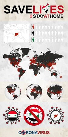 Infographic about Coronavirus in Syria - Stay at Home, Save Lives. Syria Flag and Map, World Map with COVID-19 cases.