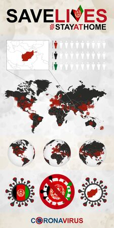 Infographic about Coronavirus in Afghanistan - Stay at Home, Save Lives. Afghanistan Flag and Map, World Map with COVID-19 cases.