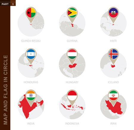 Map and Flag in a circle of 9 Countries: Guinea-Bissau, Guyana, Haiti, Honduras, Hungary, Iceland, India, Indonesia, Iran 矢量图像