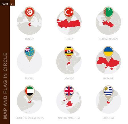 Map and Flag in a circle of 9 Countries: Tunisia, Turkey, Turkmenistan, Tuvalu, Uganda, Ukraine, United Arab Emirates, United Kingdom, Uruguay
