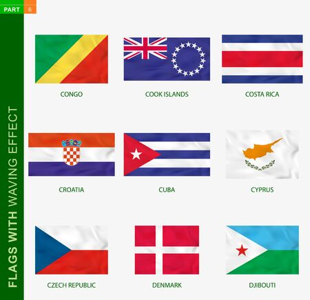 Set of flag with waving effect, national flag with texture. Vector flag of Congo, Cook Islands, Costa Rica, Croatia, Cuba, Cyprus, Czech Republic, Denmark, Djibouti