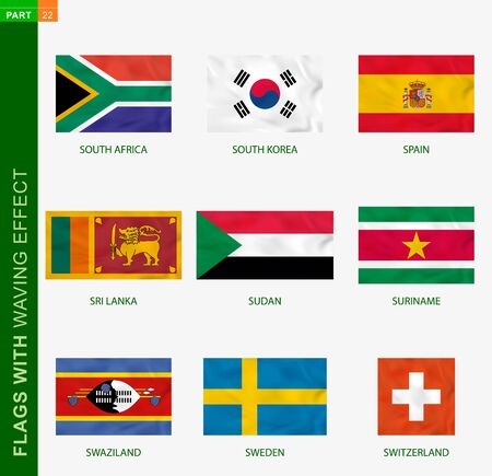 Set of flag with waving effect, national flag with texture. Vector flag of South Africa, South Korea, Spain, Sri Lanka, Sudan, Suriname, Swaziland, Sweden, Switzerland