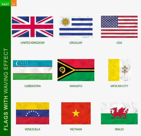 Set of flag with waving effect, national flag with texture. Vector flag of United Kingdom, Uruguay, USA, Uzbekistan, Vanuatu, Vatican City, Venezuela, Vietnam, Wales