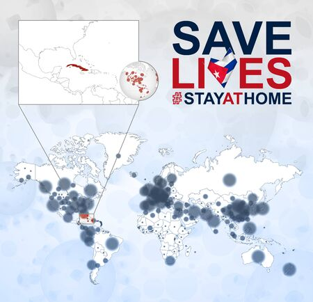 World Map with cases of Coronavirus focus on Cuba, COVID-19 disease in Cuba. Slogan Save Lives with flag of Cuba. Vector template.  イラスト・ベクター素材