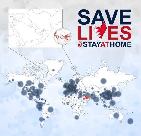 World Map with cases of Coronavirus focus on Bahrain, COVID-19 disease in Bahrain. Slogan Save Lives with flag of Bahrain. Vector template. 向量圖像