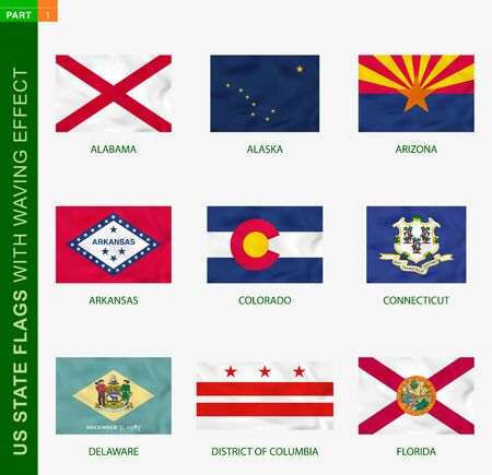 Set of US state flags with waving effect, national flag with texture. US States vector flag of Alabama, Alaska, Arizona, Arkansas, Colorado, Connecticut, Delaware, District of Columbia, Florida