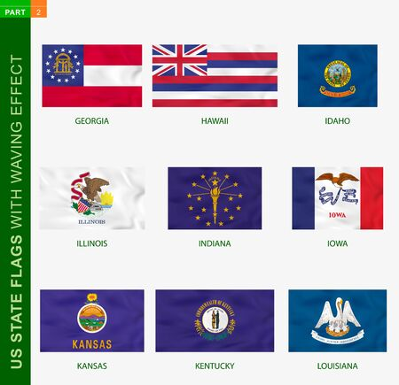 Set of US state flags with waving effect, national flag with texture. US States vector flag of Georgia, Hawaii, Idaho, Illinois, Indiana, Iowa, Kansas, Kentucky, Louisiana  イラスト・ベクター素材