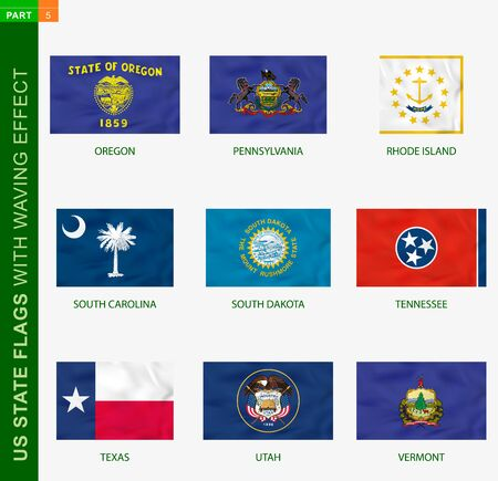 Set of US state flags with waving effect, national flag with texture. US States vector flag of Oregon, Pennsylvania, Rhode Island, South Carolina, South Dakota, Tennessee, Texas, Utah, Vermont