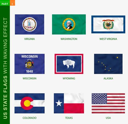 Set of US state flags with waving effect, national flag with texture. US States vector flag of Virginia, Washington, West Virginia, Wisconsin, Wyoming, Alaska, Colorado, Texas, USA