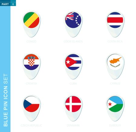 Pin flag set, map location icon in blue colors with flag of Congo, Cook Islands, Costa Rica, Croatia, Cuba, Cyprus, Czech Republic, Denmark, Djibouti