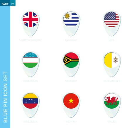 Pin flag set, map location icon in blue colors with flag of United Kingdom, Uruguay, USA, Uzbekistan, Vanuatu, Vatican City, Venezuela, Vietnam, Wales