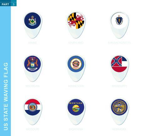 Pin flag set, map location icon in blue colors with USA state flag of Maine, Maryland, Massachusetts, Michigan, Minnesota, Mississippi, Missouri, Montana, Nebraska