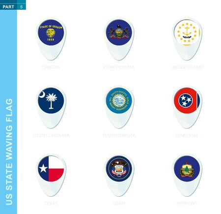 Pin flag set, map location icon in blue colors with USA state flag of Oregon, Pennsylvania, Rhode Island, South Carolina, South Dakota, Tennessee, Texas, Utah, Vermont
