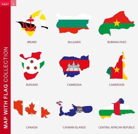 Map with flag collection, nine map contour with flag of Brunei, Bulgaria, Burkina Faso, Burundi, Cambodia, Cameroon, Canada, Cayman Islands, Central African Republic 向量圖像