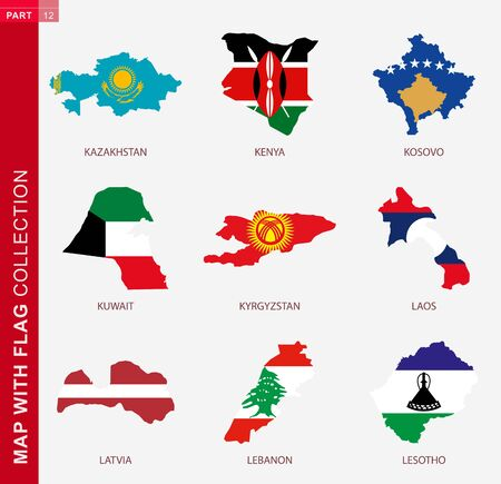 Map with flag collection, nine map contour with flag of Kazakhstan, Kenya, Kosovo, Kuwait, Kyrgyzstan, Laos, Latvia, Lebanon, Lesotho 向量圖像