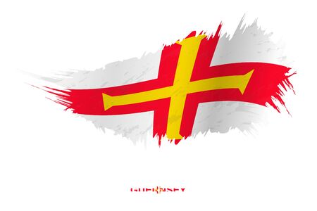 Flag of Guernsey in grunge style with waving effect, vector grunge brush stroke flag.
