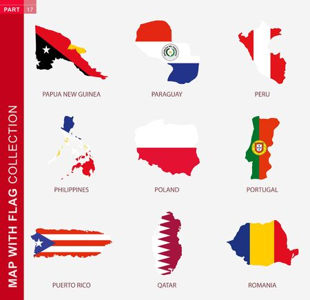 Map with flag collection, nine map contour with flag of Papua New Guinea, Paraguay, Peru, Philippines, Poland, Portugal, Puerto Rico, Qatar, Romania