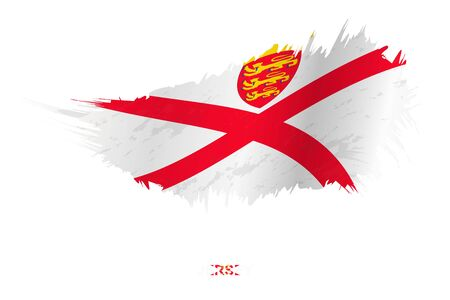 Flag of Jersey in grunge style with waving effect, vector grunge brush stroke flag.