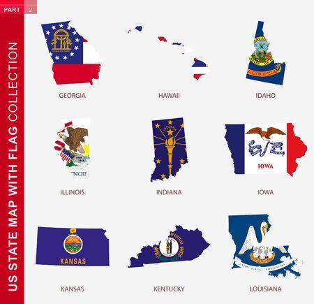 US State Maps with flag collection, nine USA map contour with flag of Georgia, Hawaii, Idaho, Illinois, Indiana, Iowa, Kansas, Kentucky, Louisiana