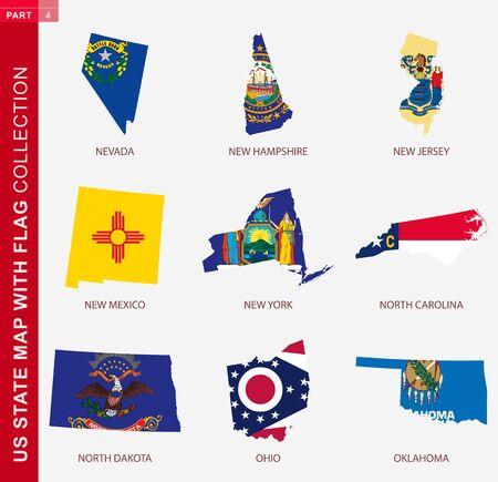 US State Maps with flag collection, nine USA map contour with flag of Nevada, New Hampshire, New Jersey, New Mexico, New York, North Carolina, North Dakota, Ohio, Oklahoma Иллюстрация