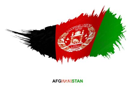 Flag of Afghanistan in grunge style with waving effect, vector grunge brush stroke flag.