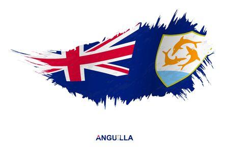 Flag of Anguilla in grunge style with waving effect, vector grunge brush stroke flag. Ilustração