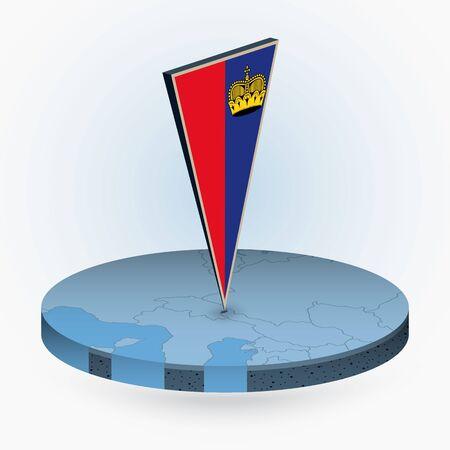 Liechtenstein map in round isometric style with triangular 3D flag of Liechtenstein, vector map in blue color.