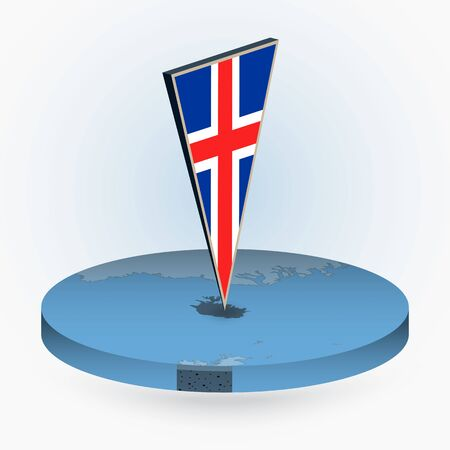 Iceland map in round isometric style with triangular 3D flag of Iceland, vector map in blue color.