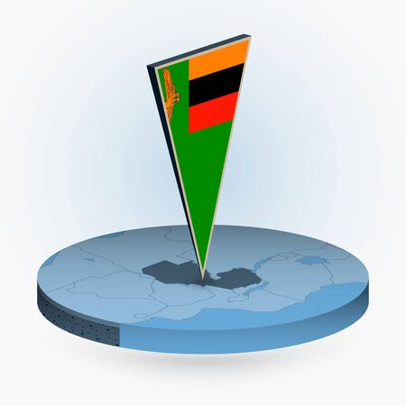 Zambia map in round isometric style with triangular 3D flag of Zambia, vector map in blue color. Illustration