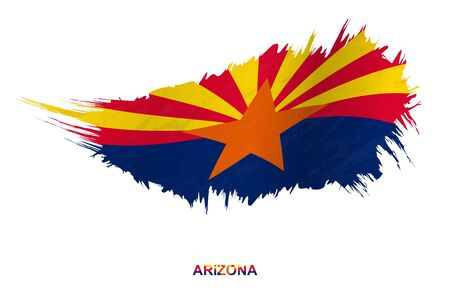 Flag of Arizona state in grunge style with waving effect, vector grunge brush stroke flag.