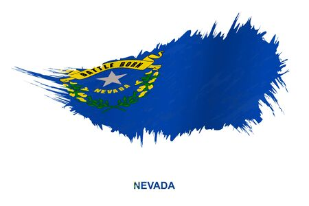 Flag of Nevada state in grunge style with waving effect, vector grunge brush stroke flag. Ilustração