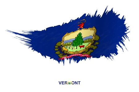 Flag of Vermont state in grunge style with waving effect, vector grunge brush stroke flag.