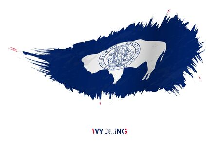 Flag of Wyoming state in grunge style with waving effect, vector grunge brush stroke flag.