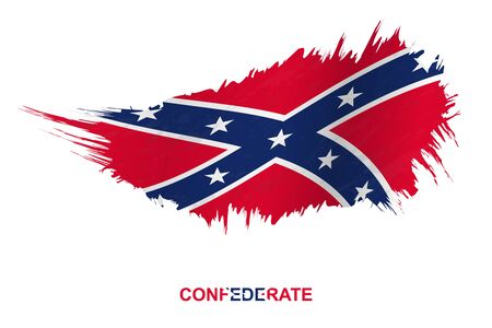 Flag of Confederate state in grunge style with waving effect, vector grunge brush stroke flag.