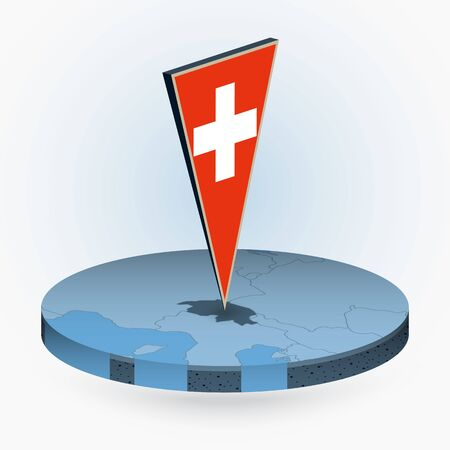 Switzerland map in round isometric style with triangular 3D flag of Switzerland, vector map in blue color.