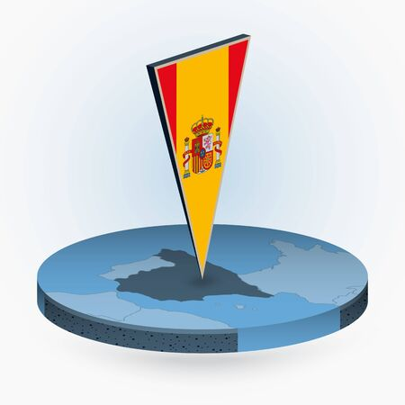 Spain map in round isometric style with triangular 3D flag of Spain, vector map in blue color.  Illusztráció