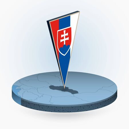 Slovakia map in round isometric style with triangular 3D flag of Slovakia, vector map in blue color.
