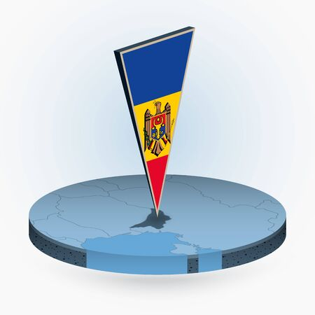 Moldova map in round isometric style with triangular 3D flag of Moldova, vector map in blue color.  Illusztráció