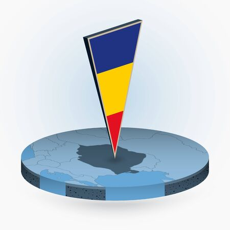 Romania map in round isometric style with triangular 3D flag of Romania, vector map in blue color.