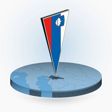 Slovenia map in round isometric style with triangular 3D flag of Slovenia, vector map in blue color.