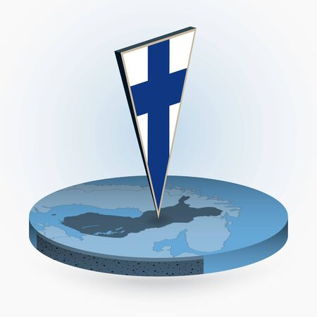 Finland map in round isometric style with triangular 3D flag of Finland, vector map in blue color.